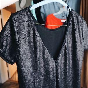 Francesca Black matte sequin dress.